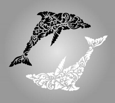 Naklejka Dolphin yin yang kwiatowy ornament ozdoba