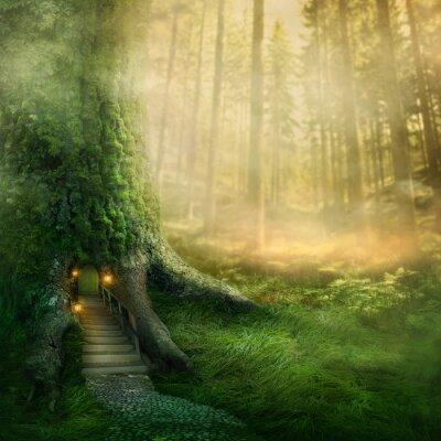 Naklejka Dom drzewo fantazja
