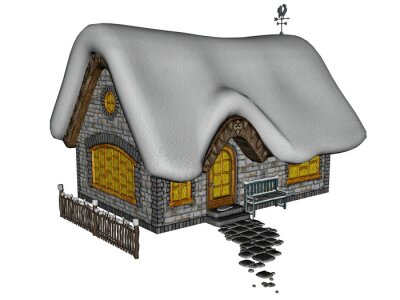 Naklejka Domek w zimie - 3D render
