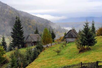 Naklejka Domy na wsi w Karpatach