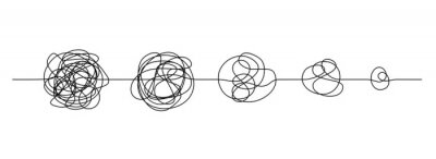 Naklejka Doodle line knot. Messy hand drawn lines, chaos to simplicity and confusion to clarity concept. Vector illustration curve idea, thought process and multiple solutions