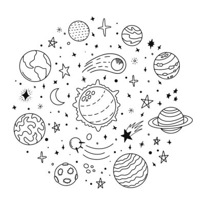 Doodle solar system. Hand drawn sketch planets, cosmic comet and stars, astronomy space doodles. Celestial solar system vector icons illustration. Universe and cosmos, moon and planets