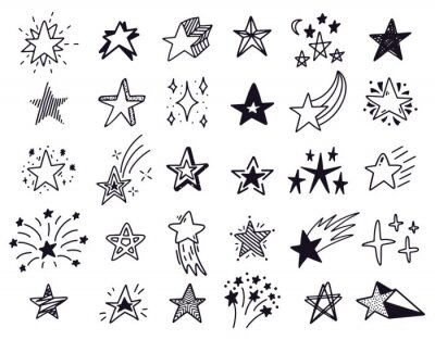 Doodle stars. Hand drawn sketch stars, starry doodles drawing icons. Star shape isolated vector illustration set. Drawing star in sky, black starry outline