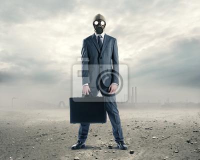 Naklejka Doomsday : portret biznesmen w masce gazowej z walizką