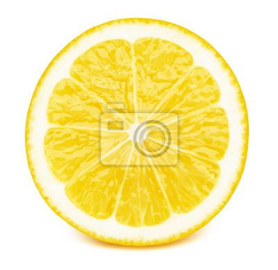 Naklejka Doskonale retuszująca pokrojona połówka cytryny owoc odizolowywająca na białym tle z ścinek ścieżką. Jeden z najlepszych izolowanych plasterków cytryny, które widziałeś.