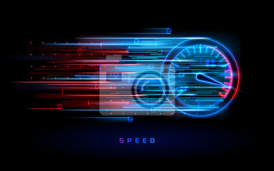 Naklejka Download progress bar or round indicator of web speed. Sport car speedometer for hud background. Gauge control with numbers for speed measurement. Analog tachometer, high performance theme