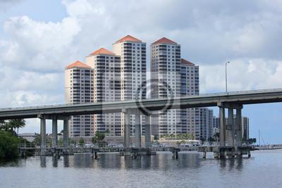 Naklejka Downtown Fort Myers River District panoramę miasta