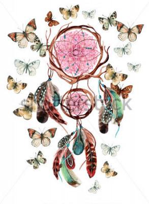 Naklejka Dream catcher z piórami i mandali. Akwarela etniczny dreamcatcher i motyl odizolowywający na białym tle. Ręcznie malowane ilustracji do projektowania