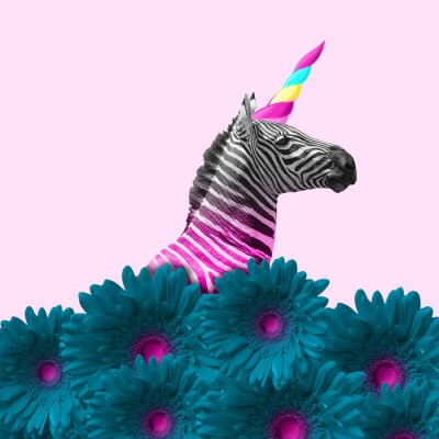Naklejka Dreaming about being better. An alternative zebra like a unicorn in blue flowers on pink background. Negative space. Modern design. Contemporary art. Creative conceptual and colorful collage.