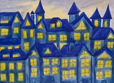 Naklejka Dreamstown ciemny niebieski, akwarele