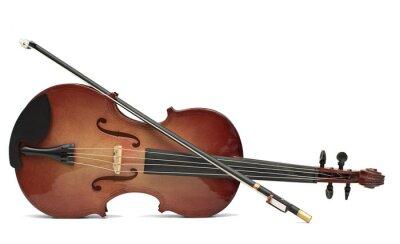 Naklejka drewna skrzypce samodzielnie nad białym