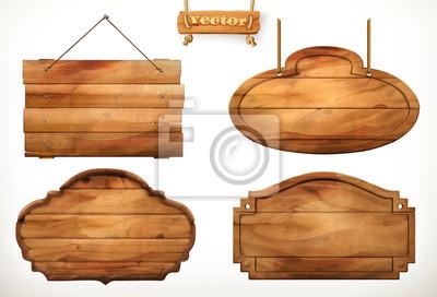 Naklejka Drewniana tablica, stary zestaw wektor drewna