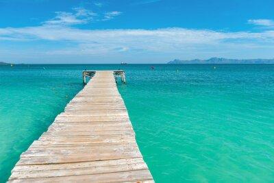 Naklejka Drewniane molo w turkusowe morze Majorki - 7138