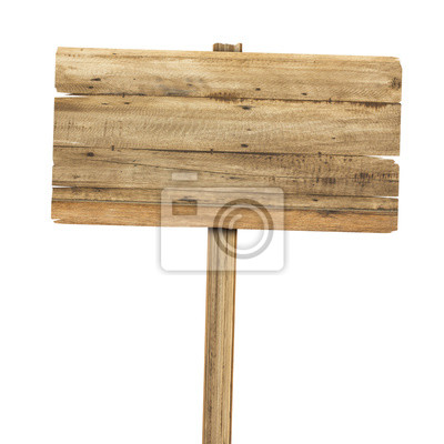 Naklejka Drewniane znak na białym tle. Drewno stare deski znak