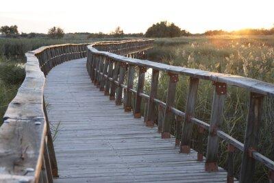 Naklejka Drewniany most na zmierzchu