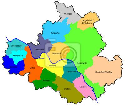 Naklejka Drezno Mapa Miasta Z Dzielnic Na Wymiar Rysunek
