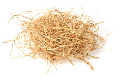 Naklejka dried vetiver roots isolated on the white background