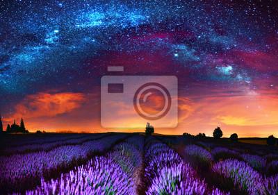 Droga Mleczna nad polem lawendy, Francja