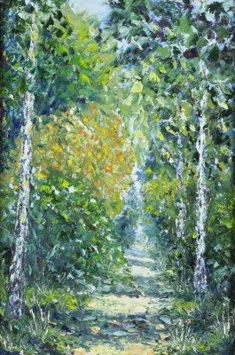 Naklejka Droga w lesie latem, obraz olejny