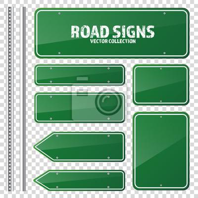 Naklejka Drogowy zielony znak drogowy. Pusta tablica z miejscem na tekst.Mockup. Pojedyncze znaki informacyjne. Kierunek. Ilustracji wektorowych.