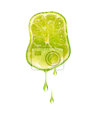 Naklejka Drops of juice dripping from sliced lime isolated on a white background