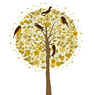 Naklejka Drzewa i ptaki