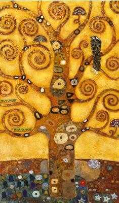 Naklejka Drzewo abstrakcyjna Bączek, olej na płótnie