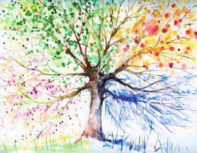 Naklejka Drzewo cztery pory roku
