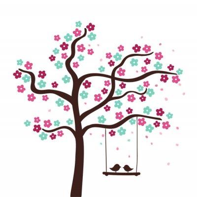 Naklejka Drzewo, kwiat wiosny z dwoma ptakami