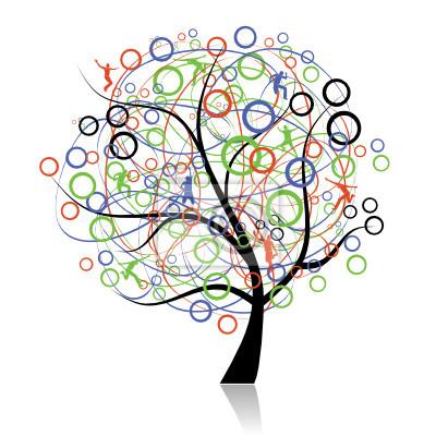Naklejka Drzewo łączące narody, web