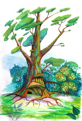 Naklejka Drzewo w lesie