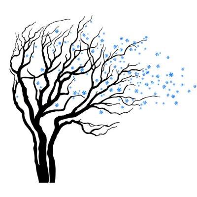 Naklejka drzewo z liści pełnych płatki śniegu w wietrze