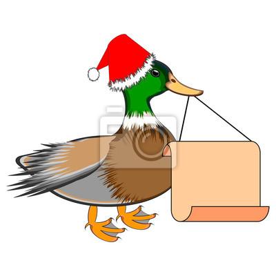 Naklejka Duck Boże Narodzenie z wielkim papieru puste w dziobie