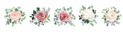 Naklejka Dusty pink blush, white and creamy rose flowers vector design wedding bouquets