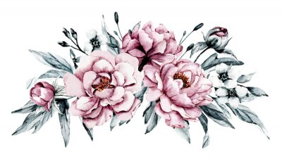 Naklejka Dusty pink flowers peonies watercolor, floral clip art. Bouquet perfectly for printing design on invitations, cards, wall art and other. Isolated on white background. Hand painting.