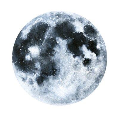 Naklejka Duża akwarela ilustracja księżyc. Symbol nowego początku, marzenia, romans, fantasy, magia. Czarne, szare kolory, okrąg, pełny widok. Ręcznie rysowane malarstwo kolor wody, na białym tle.