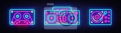 Naklejka Duża kolekcja neon śpiewać. Elementy projektu retro muzyka neonów. Powrót do baneru świetlnego z lat 80-90, nowoczesnego stylu trendu. Jasny szyld, reklama nocna. Ilustracji wektorowych