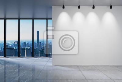 Naklejka duże biuro z pustą białą ścianą przed panoramicznym widokiem na panoramę okna, ilustracja 3D