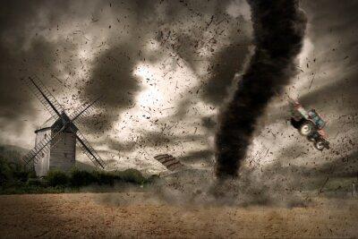 Naklejka Duży tornado nad wiatrak