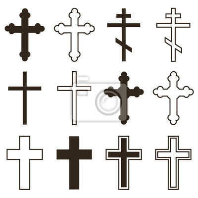Naklejka Duży zestaw chrześcijańskiej ortodoksji krzyże w różnych stylach i kształtach na białym tle. Krzyż jako symbol wielkanocny, wiary, śmierci i zmartwychwstania.