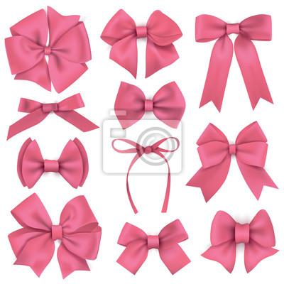 Naklejka Duży zestaw realistycznych różowymi kokardkami prezent wstążki