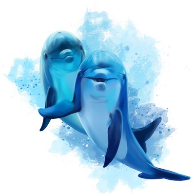 Naklejka Dwa błękitna delfin akwareli ilustracja