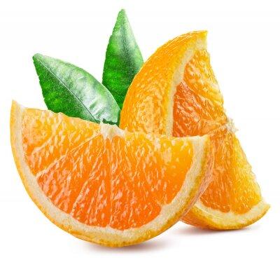 Naklejka Dwa segmenty pomarańczy z liśćmi.