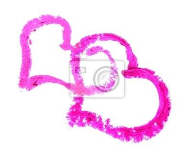 46d215c50768c Naklejka Dwa serca narysowane szminką na białym tle na wymiar ...