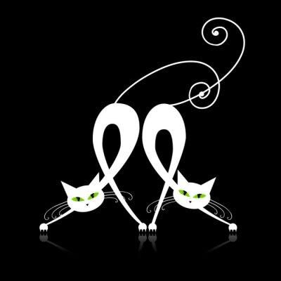 Naklejka Dwa wdzięczne białe koty, sylwetka do projektowania