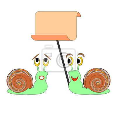 Dwa zabawne ślimaki kreskówek z dużym papierze pusty