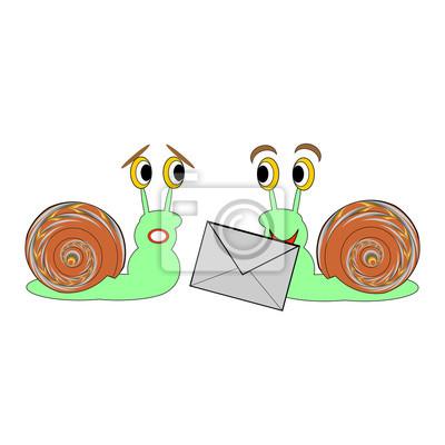 Naklejka Dwa zabawne ślimaki kreskówki z listu