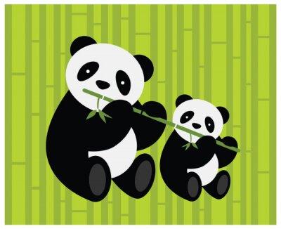 Naklejka Dwie pandy. Ilustracji wektorowych.