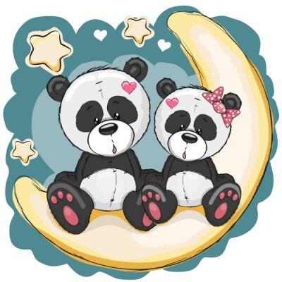 Naklejka Dwie Pandy na Księżycu