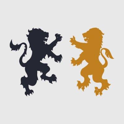 Naklejka Dwie sylwetki lwa-heraldyczne stylu
